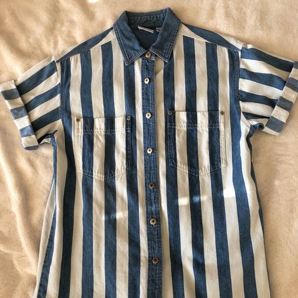 13528de828842f Vintage 90s Oversized Stripe Denim Shirt. M_5cb64999aa7ed35144d3f627